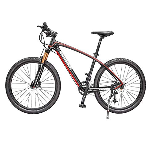 Hugs 27-Speed Carbon Fiber Mountain Bike Male Off-Road Bicycle Shift Female Ultra-Lightweight Racing Air Pressure Shock,Black red