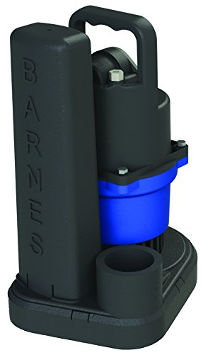 Barnes-130234 SU33 Submersible Cast Iron Sump Pump – 1/3-HP, 2,700 GPH, 9' Cord, Magnetic Float Switch, for Residential Use