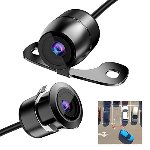 SAMFIWI Backup Camera with Dynamic Moving Guide Line, Waterproof Night Vision Rear View Camera Built-in HD Sensor Suitable for Truck/Pickup Truck/Car(2 Installation Options)