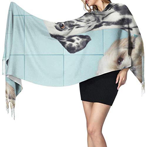 Kevin-Shop 27 'x 77' Womans sjaal hond in de badkamer nemen douche schattige sjaal lichte reissjaal stijlvolle grote warme deken