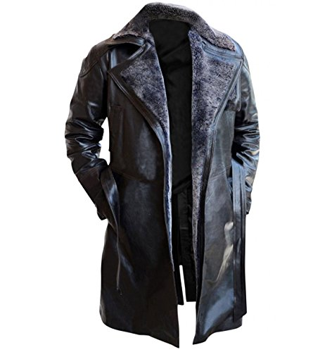 Red Smoke Blade Runner 2049 Ryan Gosling (Officer K) Shearling schwarz Trench-Ledermantel Kostüm Gr. XX-Large, A) Schwarzes Fell – Kunstleder.