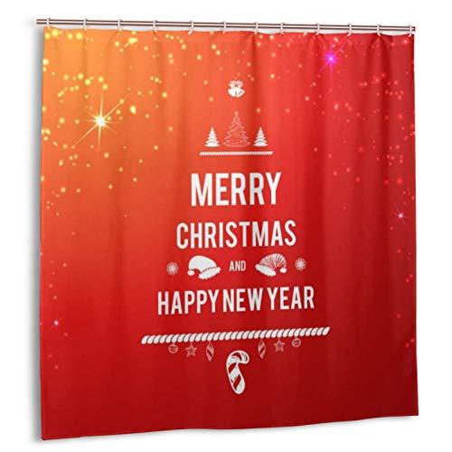 Opehodecor Personalisierter Duschvorhang,rot-orange Grunge Frohe Weihnachten,wasserabweisender Badvorhang für das Badezimmer 180 x 210cm