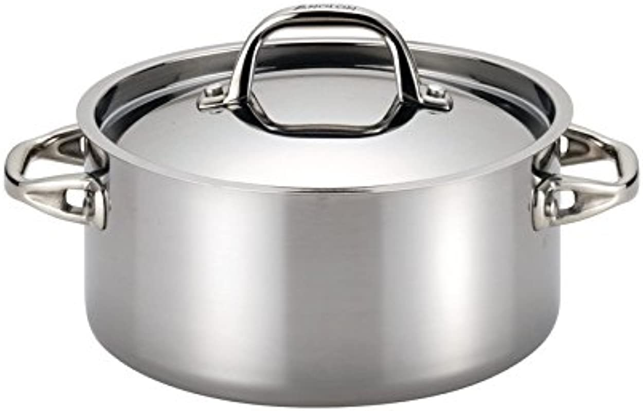 Anolon 30824 Tri Ply Onyx Dutch Oven 5 Quart Stainless Steel
