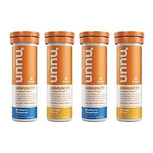 Nuun Immunity: Immune Support Hydration Supplement, Electrolytes, Antioxidants, Vitamin C, Zinc, Turmeric, Elderberry, Ginger, Echinacea - Blueberry Tangerine + Orange Citrus - 4 Tubes (40 Servings)