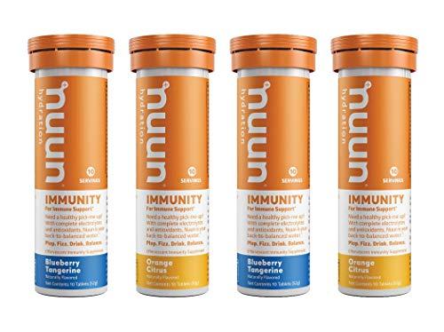 Nuun Immunity: Immune Support Hydration Supplement Electrolytes Antioxidants Vitamin C Zinc Turmeric Elderberry Ginger Echinacea  Blueberry Tangerine  Orange Citrus  4 Tubes 40 Servings