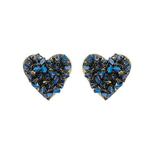 Earrings Women Studs New Sweet Fashion Shiny Blue Crystal Earrings Elegant Temperament Joker Heart Fine Stud Earrings Jewelry