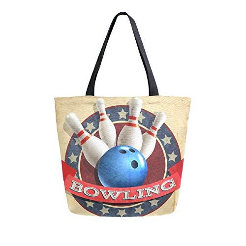 Hunihuni Canvas Tote Bag Bowling Sport Ball Muster Große wiederverwendbare Lebensmitteltasche Einkaufstasche Schultertasche für Damen Mädchen
