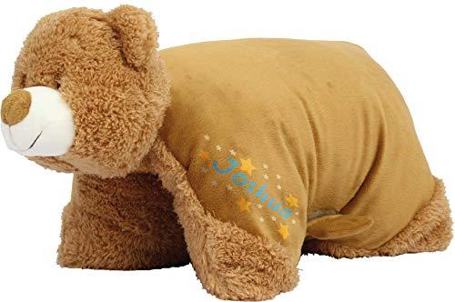 Kuschelkissen Bär personalisiert mit Namen - 2 in 1 Kuscheltier XXL und Kissen - Kopfkissen in Tierform für Kinder und Erwachsene - Tierkissen Kinderkissen Geschenk für Junge Mädchen Baby (Blau)