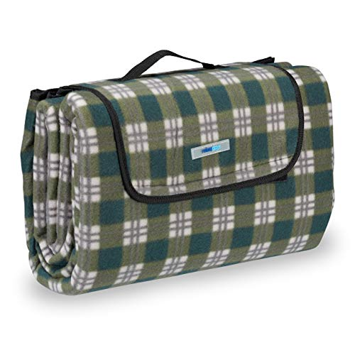 Relaxdays Picknickdecke XXL, 200 x 200 cm, wärmeisoliert, Faltbare Stranddecke, wasserdicht, mit Tragegriff, grün-grau