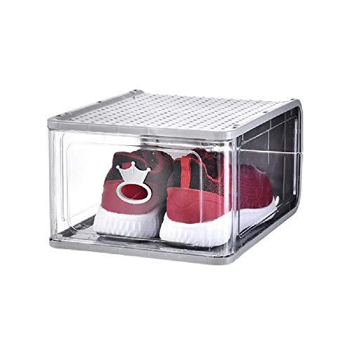 meixiang Verdickte Kunststoff-Aufbewahrungsbox, Abnehmbarer Aufbewahrungsschuhkarton, Transparenter Klappschuhschrank Grau