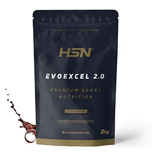 Whey Protein Isolate + Concentrate de HSN Evoexcel 2.0   Batido de Proteínas con Enzimas Digestivas + Probióticos + Calostro   Vegetariano, Sabor Chocolate, 2Kg