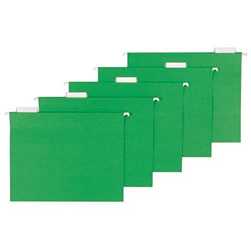 Amazon Basics Hanging Folders, Letter Size, Bright Green, 25-Pack