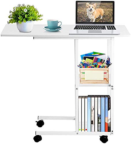Side End Table Sofa Coffee Table Portable Mobile Over Bed Sofa Table Moveable Bedside Laptop Workstation Sofa Couch Rolling Wheel Laptop Computer Desk with 2 Tier Storage Shelf Utility for Home Office
