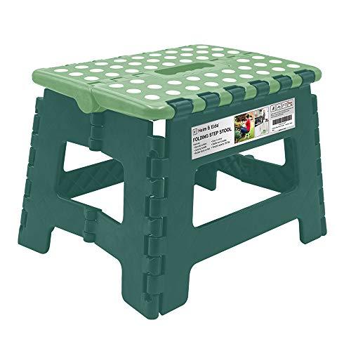 Heim&Elda Klappbarer Hocker - bis 150 kg - 30x22x23 cm - Tragbarer, Rutschfester, Platzsparender Hocker (Grün)