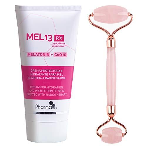 Pharmamel MEL 13 RX Crema Protectora para la Piel sometida a Radioterapia con Melatonina y CoQ10 Mel13 - 150 ml y Rodillo de Masajeador Facial Antiedad Antienvejecimiento