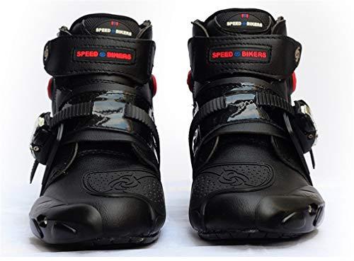 AKAUFENG Motorradstiefel Motorrad Schuhe Herren Kurzstiefel Sneaker Wasserabweisend mit Hartschalenprotektoren und Lichtreflexion Schwarz 40-46