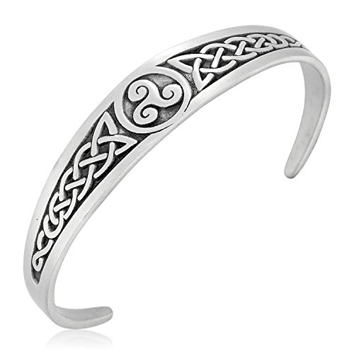 Namaste Jewelers Irish Celtic Triskele Knot Cuff Bracelet Pewter Jewelry