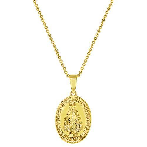 Collar con medalla de María Virgen Milagrosa, chapado en oro de 18 quilates, diseño ovalado, 48 cm