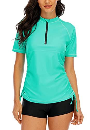 Halcurt Damen Rashguard UV Shirt, Athletic Swim Shirt,Kurzarm Badeshirt Badenmode Tankini