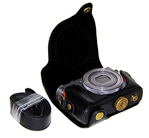 G9X Camera Case, PU Leather Protective Camera Case Bag for Canon PowerShot G9X, G9X Mark II, Black