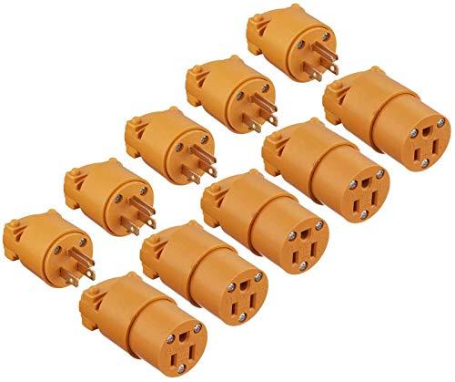 Miady 15 Amp Replacement Plug/Connector Set, 125 Volt NEMA 5-15P & 5-15R Straight Blade Plug Grounding Type/UL listed, (5 SET, Yellow)