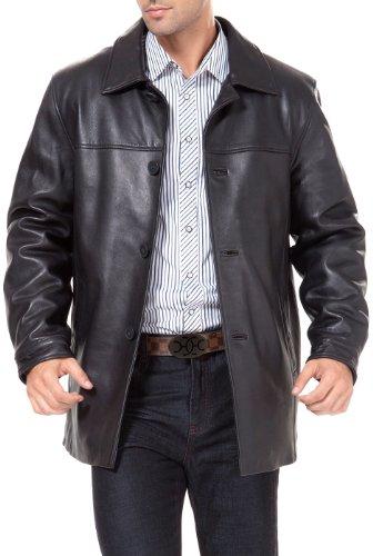 BGSD Men's Samuel New Zealand Lambskin Leather Car Coat Black Medium