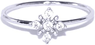 Excelsia Hope 18K Rose/White Gold-Plated CZ Dainty Flower Ring