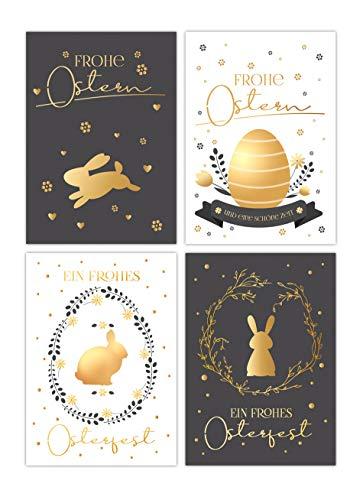 20 Osterkarten, Oster-Postkarten im Set, 4 unterschiedliche Motive, je 5 Stück, Osterpostkarten, Karten mit