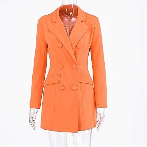 Blazer Vestido Abrigo Largo Outwear Bolsillo Oficina Streetwear Ropa Chaqueta de Gran tamaño Talla Grande botón M Naranja