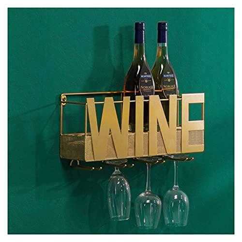 YMLSD Estantes de Vino, Decoración de Bar, Metal Montado en la Pared para el Hogar, 4 Soportes de Vidrio de Tallo Largo Y Almacenamiento de Corcho de Vino, Estante de Vino para Decoración de Bar/Co