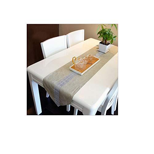 Montanchezz - Runner da tavolo in stile elegante e moderno, di lusso, con strass, in finta lino, durevole e lavabile 180 x 32 cm, Unisex - Adulto, rosso