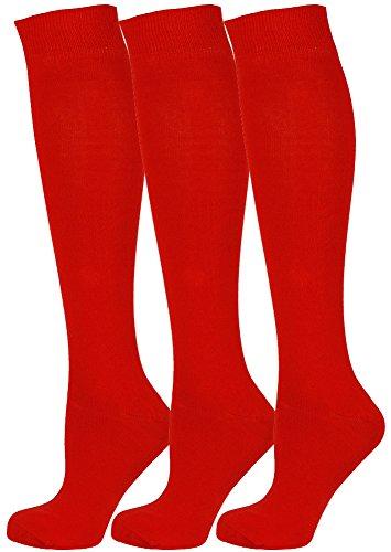 Mysocks 3 Pairs Calcetines altos unisex hasta la rodilla con algodón peinado extrafino rojo