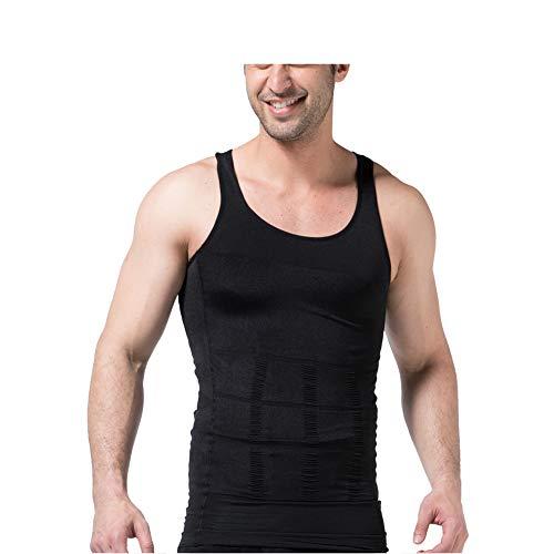 Jolie Chemises de Compression pour Hommes Shaper Corps Minceur Gilet de gynécomastie Perdre du Poids Contrôle du Ventre Débardeur,Noir,L