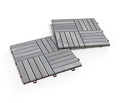 "Acacia Hardwood Deck and Patio Easy to Install Interlocking Flooring Tiles 12""×12"" - 10 TILES / PACK - Totally 10 Sq. Ft. Unique 5 YEAR WARRANTY"