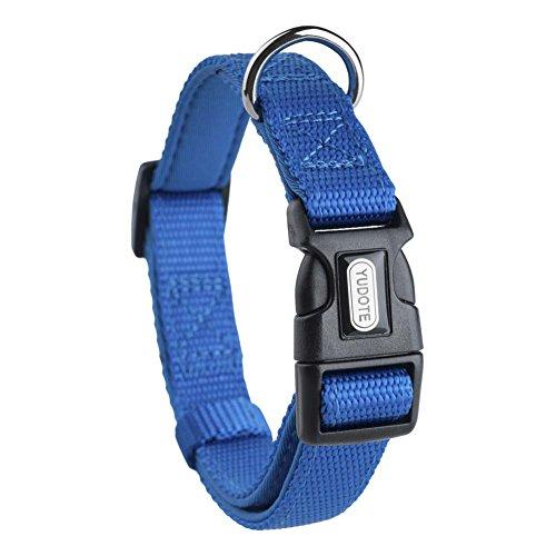 YUDOTE Adjustable Nylon Dog Collar with Soft Neoprene Padding for Medium Sized Dogs Neck 30-47cm Blue