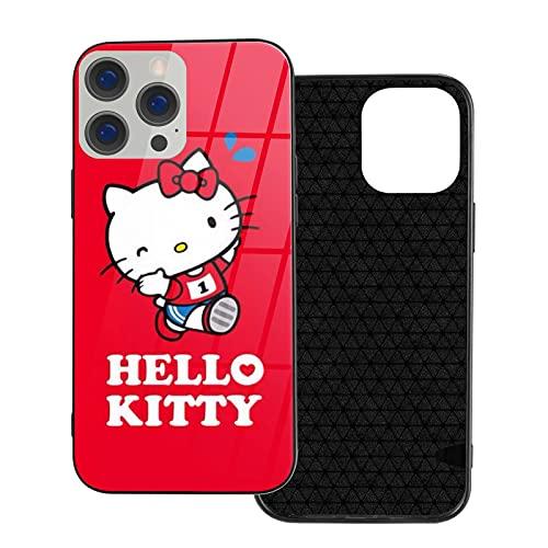 Funda para iPhone 12 Hello Kitty running Champion a prueba de golpes compatible con iPhone 12, compatible con iPhone 12 Pro 6.1/Max 6.7, funda de vidrio ultrafino linda y duradera