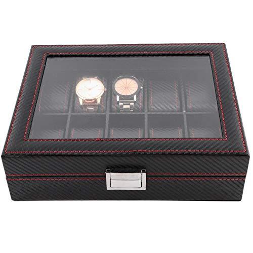 AYNEFY Caja de Reloj de 10 Ranuras, Organizador del Colector de Reloj de la Exhibición de la Joyería de la Caja del Reloj del Recorrido Premium Vitrina con Tapa de Cristal