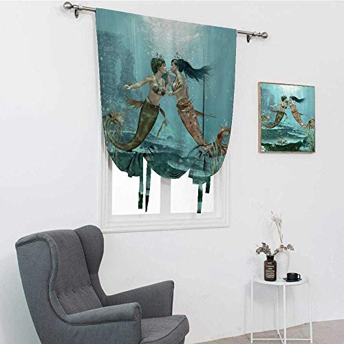 Little Tie Up Curtains, Mermaids in Love Underwater Fairy Design Abstract Love Art Home Sister Gifts from Sister Water Therapy Window Valance Balloon Blind, Teal Dark Green Brown, 30' x 64'