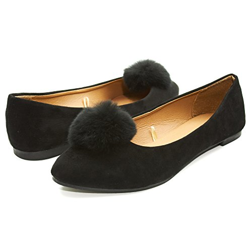 Sara Z Womens Microsuede Velvet Pointed Ballet Flat Shoes with Pom Pom Black Size 5/6