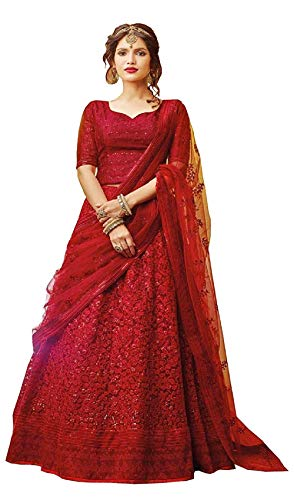 Niyom Women's Georgette Embroidered Stone Work Semi-Stitched Lehenga Choli with Dupatta Set (E_Heavy_Red_Choli)