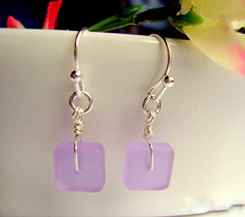 Square Purple Sea Glass Silver Dangle Earrings