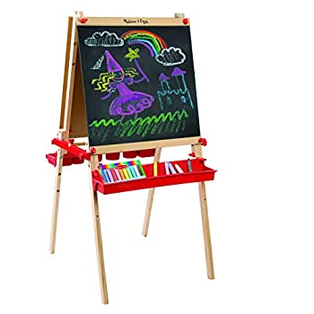 Melissa & Doug Deluxe Magnetic Standing Art Easel With Chalkboard Dry-Erase Board and 39 Letter and Number Magnets