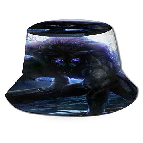 Sombrero de pesca,Hombre lobo surrealista con ojos eléctricos en luna llena Transformación...