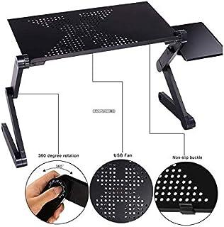 ASDFG Mesa de Ordenador portátil Ajustable Escritorio de computadora Plegable portátil Escritorio de Cama con un Gran Ventilador de refrigeración