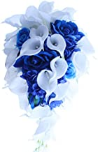 IFFO Royal Blue Bouquet, White Calla Lily Bridal Bouquet, Water Drops Waterfall Shape, Luxury Jewelry Bouquet Romantic Wedding (No jewelry)