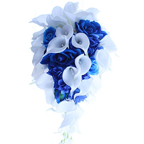 IFFO Royal Blue Bouquet, Bridal Bouquets for Wedding,White Calla Lily Bridal Bouquet, Water Drops Waterfall Shape, Luxury Jewelry Bouquet Romantic Wedding (No Jewelry)