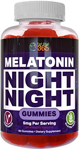 Feel Great Vitamin Co. 5mg Melatonin Gummies | Promotes Natural, Safe, Drug-Free Sleep | Helps Both Men & Women Stay Asleep Longer and Faster | Sleep Support Supplement Gummies for Adults | 90 Gummies