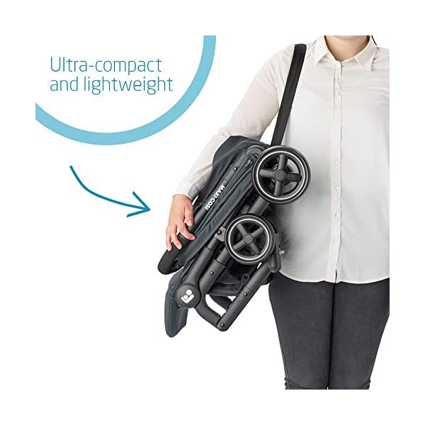 Maxi-Cosi Lara2. Lightweight, Compact Pushchair, Easy-to-fold, from Birth up to 4 Years, up to 22 kg, Essential Graphite Maxi-Cosi Pushchair for baby and toddler, from birth up to 4 years, up to 22 kg The ultra-compact and lightweight design makes the lara² easy to carry thanks to its shoulder strap and easy to store in even the smallest places Unique one-hand flash fold: press the push bar and the pushchair will automatically fold 2