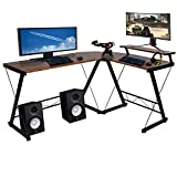 Halter L-Shaped Gaming Desk, Computer Corner Desk Home, Office Desk Study Writing Modern Table, Black Desk with Black Metal Frame, 59 Inches, Brown