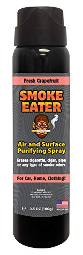 Smoke Eater - Breaks Down Smoke Odor at The Molecular Level - Eliminates Cigarette, Cigar or Pot Smoke On Clothes, in Cars, Homes, and Office - 3.5 oz Travel Bottle (Fresh Grapefuit)